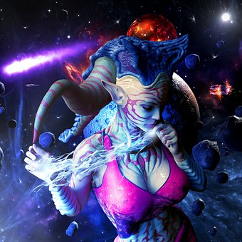 Woman, Alien, Surreal, Space, Universe, Fantasy, Planet