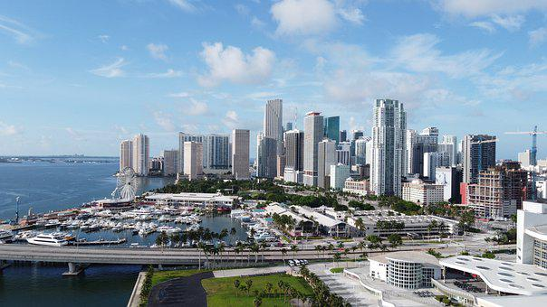 Miami, Bayside, City, Buildings, Port, Bay, Sea, Ocean