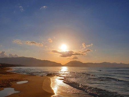 Sunset, Sun, Beach, Sea, Wave, Sand Beach, Romance