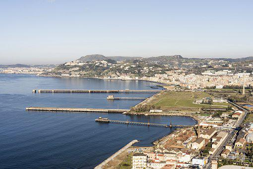 Bagnoli, Piers, Sea, Panorama, City, Buildings, Port