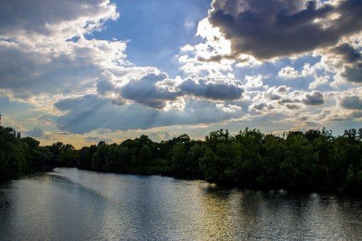 River, City, Bridge, Water, Clouds, Sky, Sunset