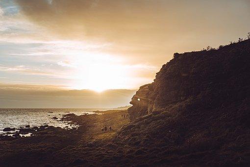 Sunset, Coast, Sea, Ocean, Rocky Coast, Rock Formations