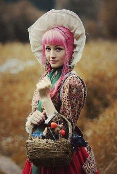 Woman, Dress, Costume, Basket, Beauty, Fashion, Vintage