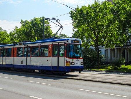 Darmstadt, Germany, Tram, Rails, Platform, Wires