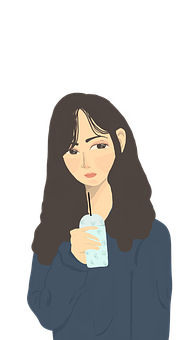 Girl, Drawing, Illustration