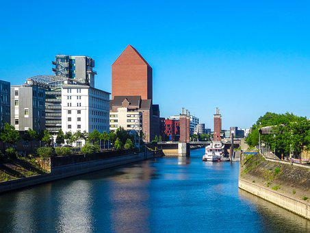 Duisburg, Germany, Trees, Water, River, Sky, Houses