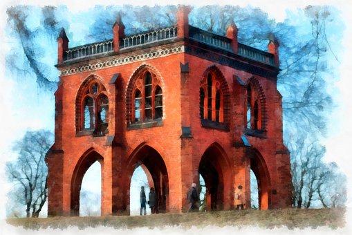 Painting, Potsdam, Havel, Castle, Architecture, Facade
