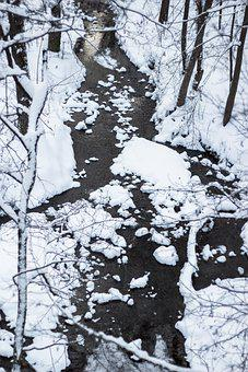 River, Winter, Snow, From Above, Vertical, View, Small