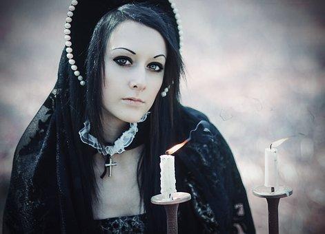 Woman, Costume, Candles, Halloween, Makeup, Evil