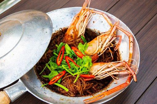 Shrimp, Noodles, Dish, Food, Meal, Dinner, Lunch