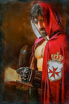 Man, Cape, Photo Art, Male, Person, Medieval, Red Cape