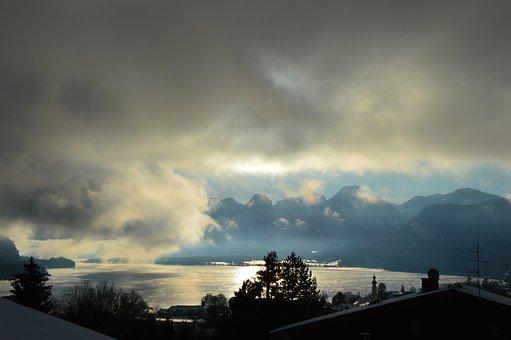 Lake Wolfgang, Clouds, Lake, Mountains, Salzkammergut