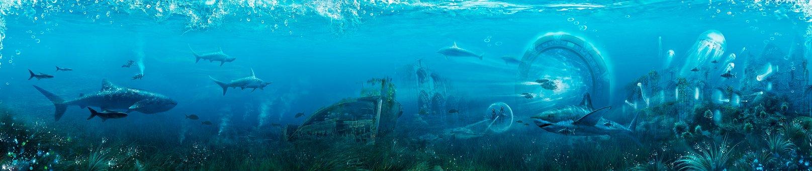 Sharks, Fiction, Water, Deep, Underwater, Blue, Fish