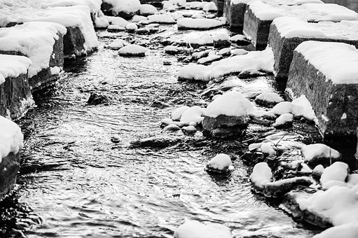 Stream, Snow, Canal, Channel, Water, Flow