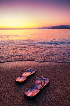 Beach, Flip Flops, Sunset, Sunrise, Coast, Sand