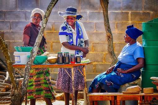 Women, Market, African, Scene, Talk, Table, Adults