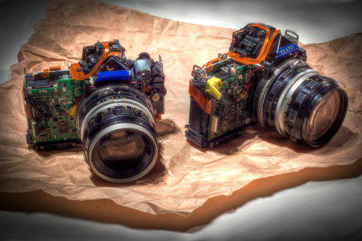 Camera, The Structure Of, Colorful, Lens, Dismantled