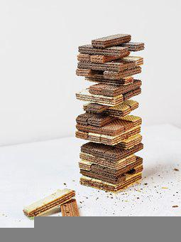 Wafer Biscuits, Stacked, Tower, Treats, Sweets, Wafers