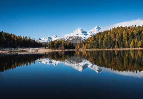 Lake, Mountains, Trees, Alps, Alpine, Snow Mountains