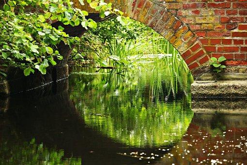 Bridge, Water, Arch, Brick, Park, Castle Park