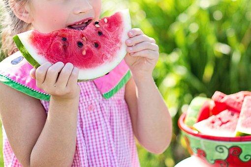 Watermelon, Summer, Little Girl Eating Watermelon, Food