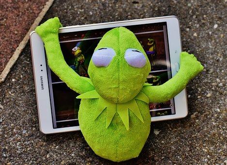 Kermit, Frog, Tablet, Computer, Fig, Soft Toy