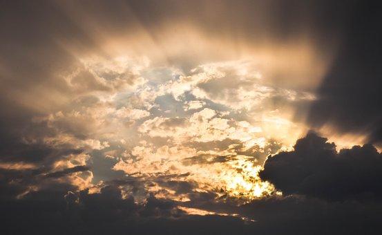 Sky, Clouds, Rays, Sun, Hope, Sunbeam, Revelation