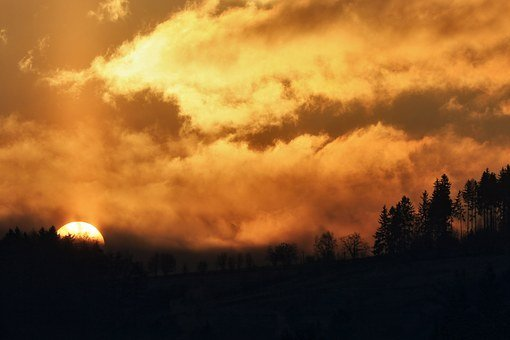 East, The Sun, Sunrise, Landscape, In The Morning