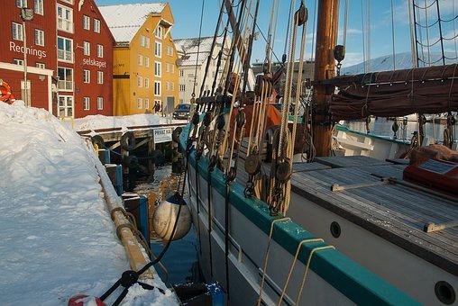 Norway, Tromso, Lapland, Port, Sailboat