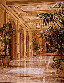 Lobby, Hotel, Interior, Hallway, Lights, Lighting