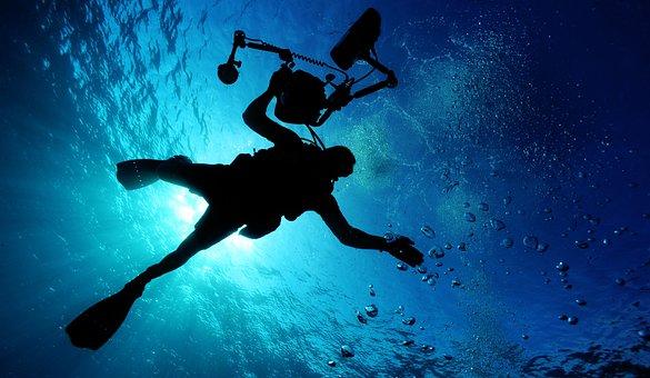 Sea, Ocean, Water, Light, Diver, Underwater, Camera