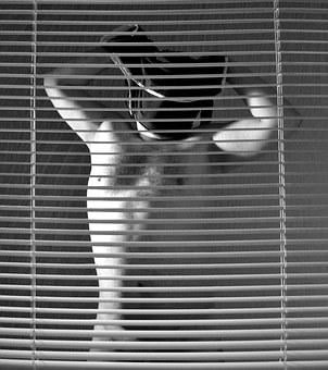 Act, Man, Human, Person, Naked, Body, Blinds, Undress