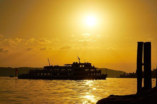 Ship, Sun, Port, Coast, Water, Germany, Lake Constance