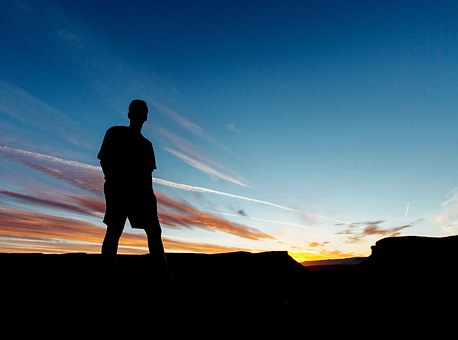 Man, Silhouette, Sunset, Silhouette Man, Person
