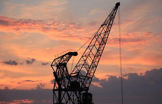 Harbour Crane, Sunset, Sky, Clouds, Industry, Port
