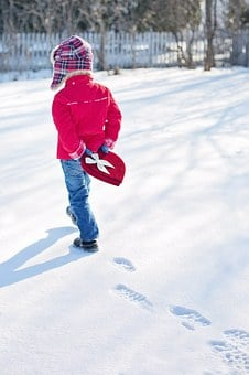 Valentine's Day, Little Boy, Snow, Winter, Heart