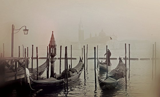 Venice, Italy, Gondola, Lagoon, Romantic, Wassertrasse