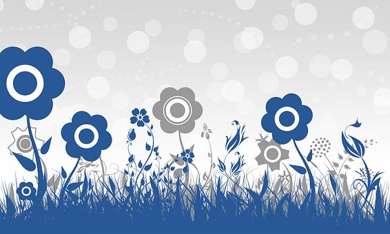 Wallpaper, Blue, Grey, Decorative, Background, Nosegay