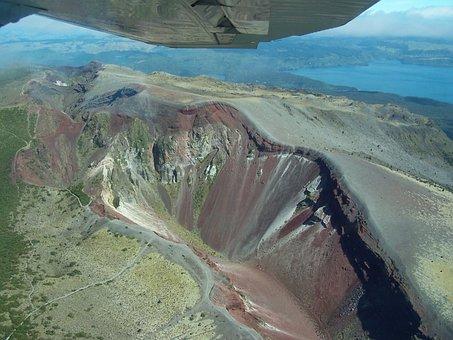 Aerial Photographs, Mount Tarawera, New Zealand, Crater