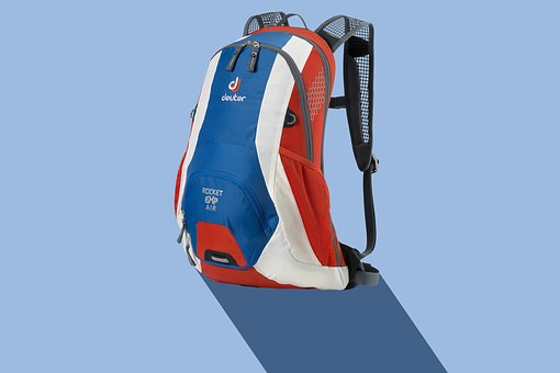 Backpack, Sport, Leisure, Blue, White, Red, Black