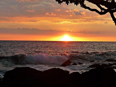 Sunset, Hawaii, Photographic Background, Beach, Ocean