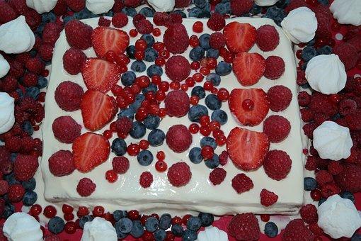 Cake, Summer Cake, Pavlova, Berry