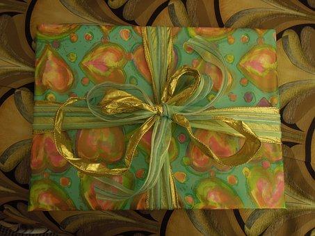 Present, Gift, Ribbon, Yellow, Box, Gold, Decorative