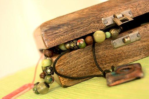 Jewellery, Box, Necklace, Bracelet, Ring, Wooden, Women