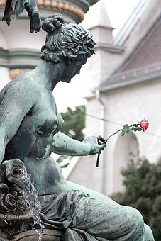 Rose, Fountain, Statue, Woman, Person, Breast, Graceful