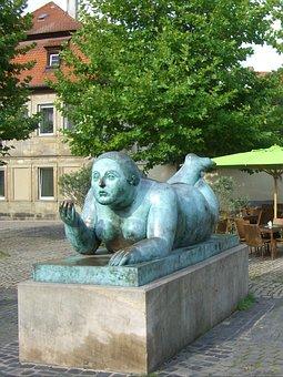 Sculpture, Bronze, Stone, Socket, Naked, Figure, Swirl