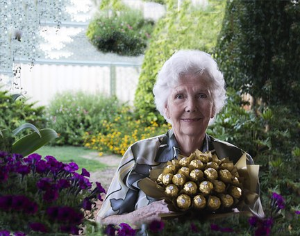 Chocolates, Chocolate Bouquet, Happy Old Woman, Love