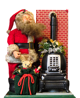 Santa Claus, Fireplace, Isolated, Gifts, Christmas, Joy