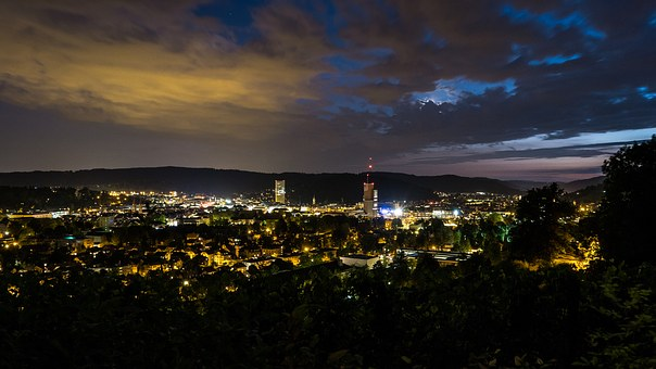 Winterthur, Night, Sky, Lighting, City, Long Exposure