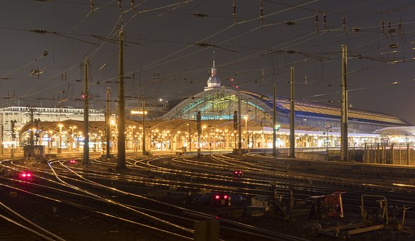 Cologne, Night Photograph, Railway Station